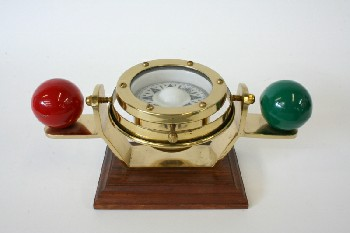 Science/Nature, Compass, TILTING COMPASS,RED & GREEN BALLS,WOOD BASE, METAL, BRASS