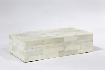 Box, Jewelry, MOSIAC MARBLE LOOK,2 PCS W/LID , STONE, GREY