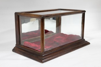 Cabinet, Display, VINTAGE,GLASS TOP & 3 SIDES (CRACKED FRONT/BOTTOM), Condition Not Identical To Photo, WOOD, BROWN
