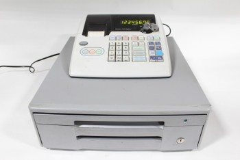 Store, Cash Register, 1 DRAWER,GREY METAL BASE,NUMBER DISPLAY WORKS (02/2018) *MUST BE RETURNED W/KEY*, PLASTIC, GREY