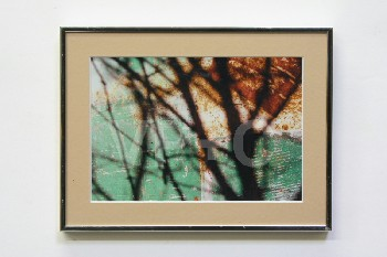 Art, Photo, CLEARED,SHADOW OF BRANCH ON GREEN/RUSTY BACKGROUND,SILVER FRAME, METAL, MULTI-COLORED