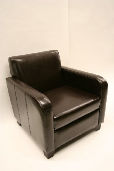 Chair, Armchair, SQUARE/CLUB STYLE, LEATHER, BROWN