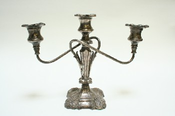Candles, Candelabra, 3 HOLDERS,CURVY ARMS,ORNATE BASE RAISED GRAPES, METAL, GREY