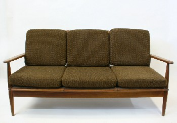 Sofa, Three Seat, MID CENTURY MODERN,6 REMOVABLE WOOL CUSHIONS, WOOD, BROWN