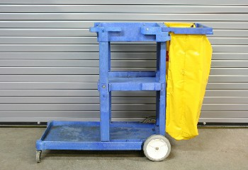 Cart, Cleaning, 3 LEVELS,LOWER OUTER SHELF,YELLOW TRASH BAG, ROLLING, PLASTIC, BLUE