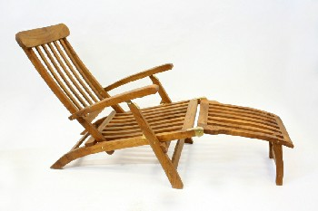 Chair, Misc, TEAK OUTDOOR LOUNGER W/ARMS,SLATS,FOLD OUT FOOT REST, BRASS HINGES, FOLDING  , WOOD, BROWN