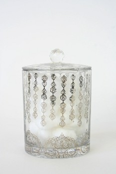 Vanity, Misc, PATTERNED JAR W/PRISM BALL LID,DRESSED W/COTTONBALLS, GLASS, CLEAR