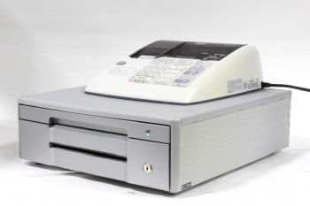 Store, Cash Register, ELECTRONIC,1 GREY METAL CASH BOX DRAWER, WHITE PLASTIC TOP, * MUST BE RETURNED WITH KEY*, METAL, GREY