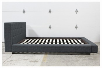 Bed, Miscellaneous, MODERN,QUEEN,FABRIC HEADBOARD, FOOTBOARD, 2 SIDES, INCLUDES 16 DOUBLE SLATS, BLACK METAL RAIL (AS SHOWN) *Mattress Included - Not Pictured* , FABRIC, GREY