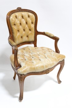 Chair, Armchair, BUTTON TUFTED DISTRESSED LEATHER SEAT & BACK, TACK TRIM, CARVED FRAME W/CURVED ARMS & LEGS, LEATHER CAPPED ARMS, TRADITIONAL STYLE ACCENT CHAIR, LEATHER, BROWN