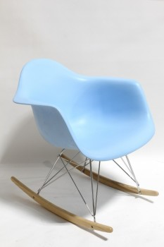 Chair, Rocking, MID-CENTURY MODERN STYLE,LIGHT BLUE CURVED MOLDED PLASTIC SEAT, CHROME LEGS W/WOOD ROCKERS , PLASTIC, BLUE