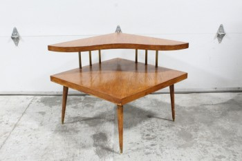 Table, Coffee Table, VINTAGE,CORNER,2 LEVELS W/CURVED/BOOMERANG SHAPED UPPER SHELF, BRASS CAPPED FEET & SHELF RODS , WOOD, BROWN