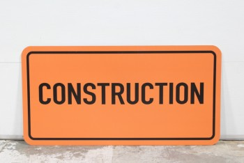 "Sign, Construction, ""CONSTRUCTION"", BLACK TEXT & BORDER (ONE SIDED), LIGHTWEIGHT PLASTIC, PLASTIC, ORANGE"