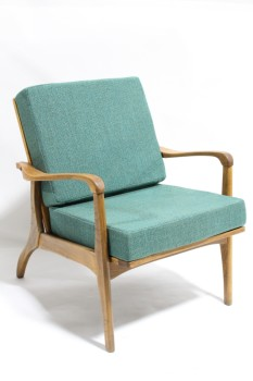 Chair, Client, TEXTURED GREEN TWEED CUSHION SEAT & BACK, BROWN WOOD FRAME W/CURVED ARMS, WOOD, BROWN