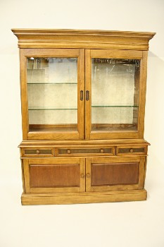 Buffet/Hutch, Shelf Top, 2 GLASS DOORS,3 DRAWERS,2 DOOR BOTTOM, CABINET, WOOD, BROWN