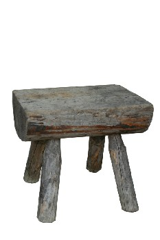 Stool, Rustic , 4 LOG LEGS,FLATTENED HALF LOG TOP, RUSTIC , WOOD, NATURAL