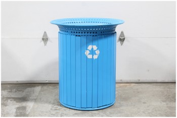 Garbage, Bins, RECYCLING,PUBLIC/CITY PARK,WIDE PERFORATED TOP RIM, WOOD SLAT SIDES, METAL, BLUE