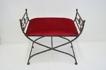 Bench, Misc, RED VELVET SEAT,HOURGLASS SHAPE, FLOWERS ON SIDES , IRON, RED