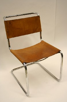 Chair, Side, CANTILEVER,TUBULAR CHROME FRAME, BROWN LEATHER SEAT & BACK, LEATHER, BROWN