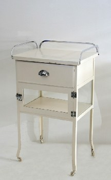 Table, Bedside, HOSPITAL BEDSIDE,1 DRAWER,1 LATCHED DOOR, ROLLING, METAL, WHITE
