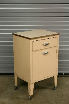 Table, Bedside, VINTAGE HOSPITAL BEDSIDE,1 DRAWER & 1 DOOR, ROLLING **ORIGINAL FINISH - These Can Not Be Painted**, METAL, BEIGE