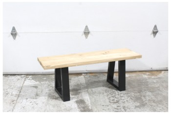 Bench, Misc, 4',LIGHTLY STAINED 2 BOARD SEAT, BLACK METAL CONNECTED LEGS, WOOD, BROWN