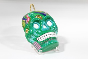 Decorative, Skull, MEXICAN SUGAR SKULL STYLE CALAVERA MASK, DAY OF THE DEAD, PAINTED W/BIRDS, POTTERY, GREEN