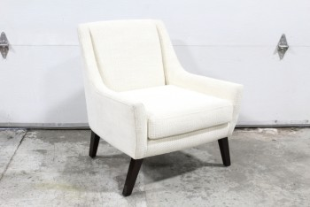 Chair, Armchair, TEXTURED UPHOLSTERY, DARK BROWN WOOD LEGS, FABRIC, WHITE