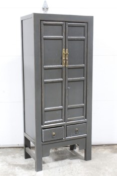 Cabinet, Wood, 2 PANELED CUPBOARD DOORS, 2 SMALL LOWER DRAWERS, BRASS HARDWARE, WOOD, GREY