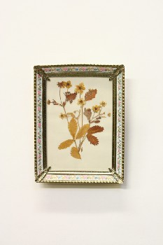 Wall Dec, Misc, DRIED FLOWERS IN GOLD FRAME W/FLORAL RIBBON, METAL, MULTI-COLORED