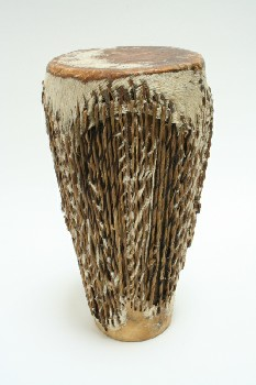 Music, Drum, TRIBAL DRUM,TAPERED W/LEATHER LACE SIDES, ANIMAL SKIN, BROWN