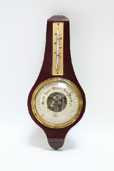 Science/Nature, Barometer, BAROMETER,BRASS DIAL W/THERMOMETER ON TOP, WOOD, BURGUNDY