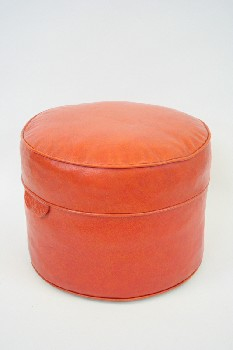 Stool, Ottoman, CYLINDRICAL W/PIPING & 2 SIDE TABS,HASSOCK, VINYL, ORANGE