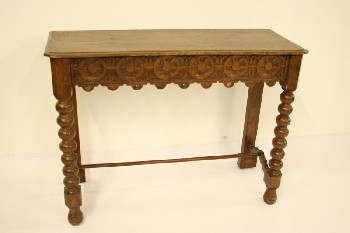 Table, Console, SOFA/HALL TABLE,OAK,TURNED LEG,CARVED APRON, WOOD, BROWN