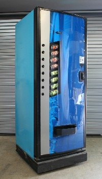 Vending, Machine, SODA POP/DRINK DISPENSER,SLANTED CANS W/ROW OF BLACK BUTTONS, BLACK BASE, ROLLING, METAL, BLUE
