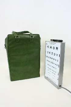 Medical, Misc, EYE TEST CHART ILLUMINATOR W/HANDLE, CARRYING CASE, METAL, GREY