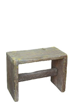 Stool, Rustic , SMALL,PLAIN,SOLID TOP,YELLOW PAINT, RUSTIC - May Not Be Identical To Photo , WOOD, BROWN