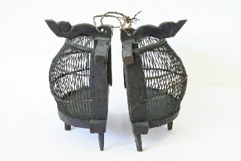 Cage, Wood, 2 HALVES/PIECES,ROUND SHAPE,CARVED TOP PIECE,RAISED ON FEET, AGED , WOOD, BLACK