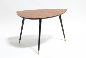 Table, Side, RETRO STYLE,ROUNDED TOP W/BROWN LINES, 3 BLACK LEGS W/BRASS CAPS, WOOD, BROWN