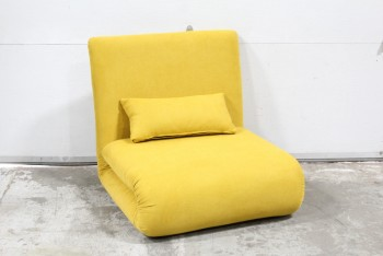 "Chair, Lounge, FLEXIBLE SEATING, SOFA BED/SINGLE SLEEPER OR FOLDED CHAIR - (29x30x29"" As Shown or 29x78x29"" Extended), FABRIC, YELLOW"