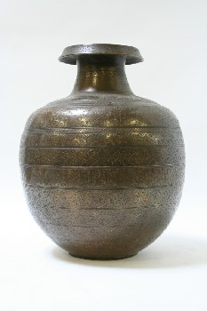 Vase, Floor, BULBOUS,FOLD OVER RIM,BANDS OF ETCHED DESIGN, METAL, BRONZE