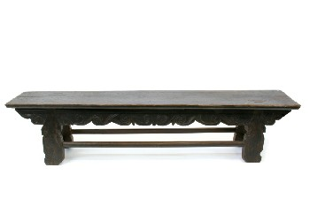 Bench, Misc, LOW,CARVED W/LOWER STRETCHERS,DISTRESSED TOP, WOOD, BROWN