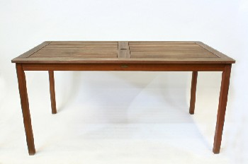 Table, Misc, TEAK,OUTDOOR/PATIO,RECTANGULAR,SLAT TOP W/HOLE FOR UMBRELLA , WOOD, BROWN