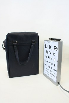 Medical, Misc, EYE TEST CHART ILLUMINATOR W/HANDLE, BLUE CARRYING CASE, METAL, GREY