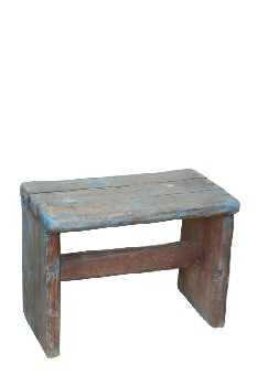 Stool, Rustic , SMALL,PLAIN,SLAT TOP,BLUE PAINT, RUSTIC , WOOD, BROWN