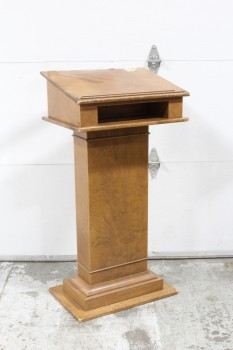 Podium, Slanted Top, LECTERN,RECTANGULAR BASE, MICROPHONE STAND (EMPTY) & LIGHT ATTACHED, WOOD, BROWN