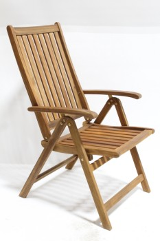 Chair, Misc, OUTDOOR/PATIO/GARDEN LOUNGER W/ARMS,ADJUSTABLE, SLATS, FOLDING  , WOOD, BROWN