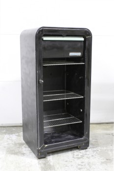 Shelf, Metal, HOMEMADE SHELF OR STAND MADE FROM A VINTAGE FRIDGE, ROUNDED TOP, 3 WIRE RACKS, NO DOOR/EMPTY, METAL, BLACK