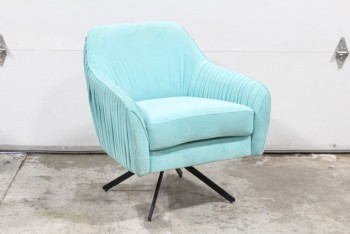 Chair, Armchair, SWIVELS, VERTICAL PLEATED BACK ARMS & SIDES, BLACK METAL SPLAYED LEGS , VELVET, BLUE