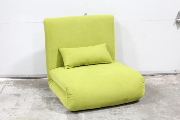 "Chair, Lounge, FLEXIBLE SEATING, SOFA BED/SINGLE SLEEPER OR FOLDED CHAIR - (29x30x29"" As Shown or 29x78x29"" Extended), FABRIC, GREEN"